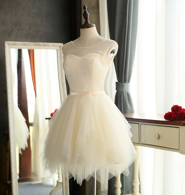 Quality bridesmaid dresses 2016 New Sweet Lace wedding Party special occasion dresses White Red Champagne Short porm dresses 3