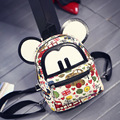 RU&BR Women Mini Backpack Lovely Mouse Ears Small Backpack Canvas Material Notebook Backpack Shoulders Bag For Girls Kids