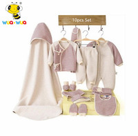 wuawua brand 10 pcs newborn baby gift set high quality cotton fabric baby clothing set baby rompers pants infant baby products