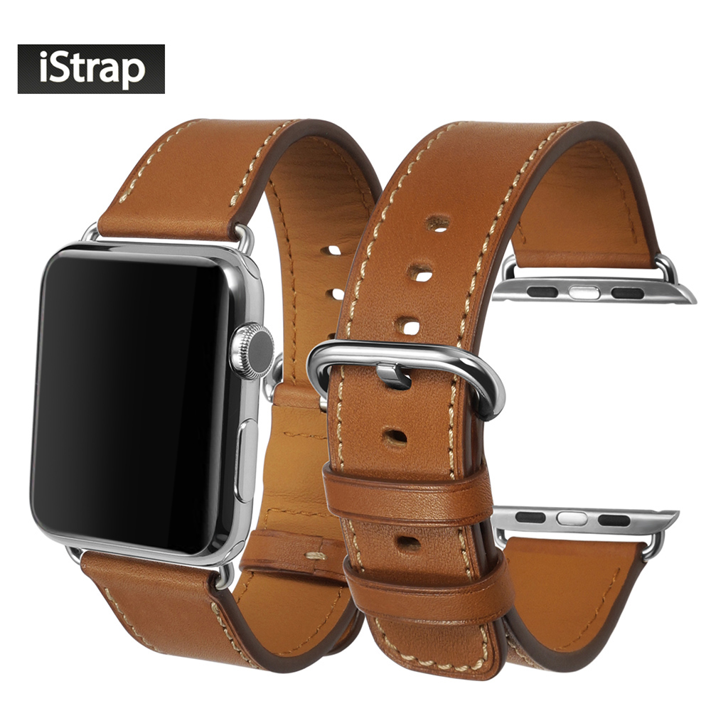 все цены на iStrap Brown 38mm 42mm Strap For Apple watch High Quality Calf Leather Watchband For Apple watch band 38mm 42mm Super soft онлайн