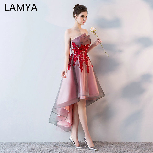 LAMYA Short Front Back Long Tail Prom Dresses Women Banquet High Low Evening Party Dress 2019 Vintage Lace Scalloped Formal Gown 1