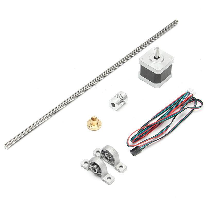 1x400mm Lead screw + 1x Screw Nut +2x Mounted ball bearing + 1x Shaft coupling +1x Motor For 3D Printer c16114 1x