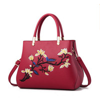 Women's Bag zipper embroidery handbag flower handbag evening dress bag candy color female messenger bag luxury brand bag canta