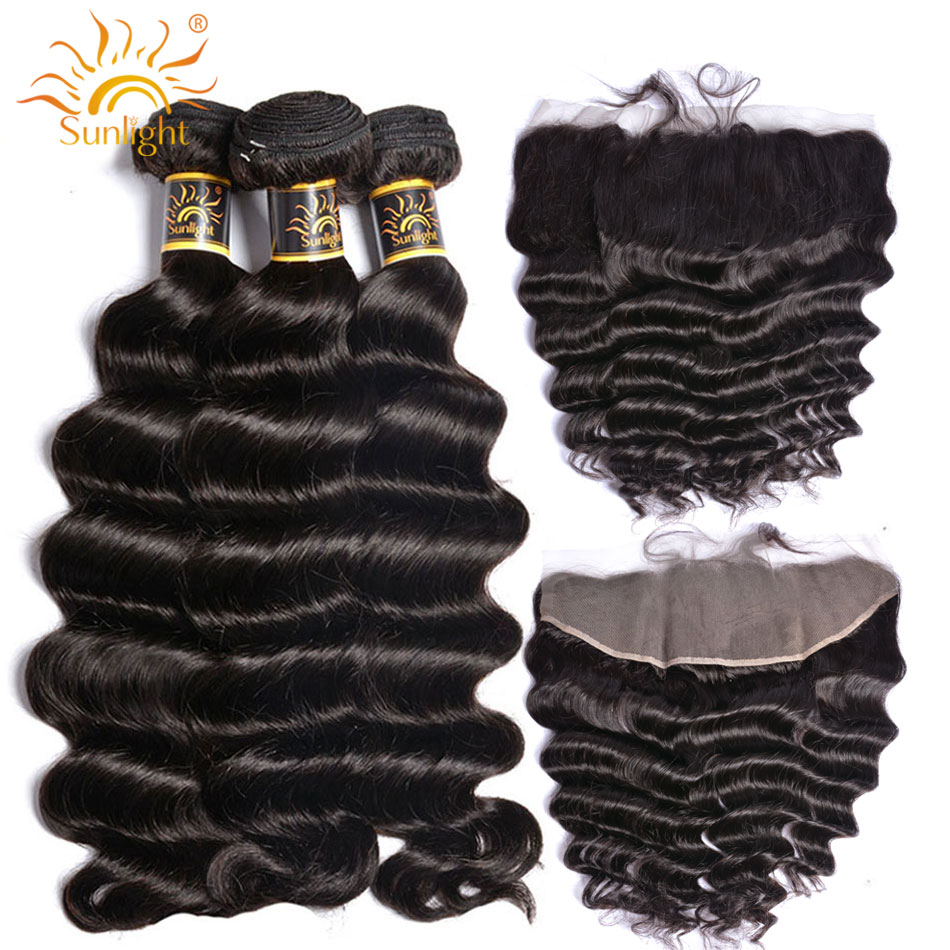 Loose Deep Wave Bundles With Frontal Brazilian Hair Weave Bundle With Closure 13x4 Sunlight Remy Human