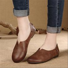 Original design genuine leather women shoes handmade vintage casual flat heels shoes comfortable and soft women flats