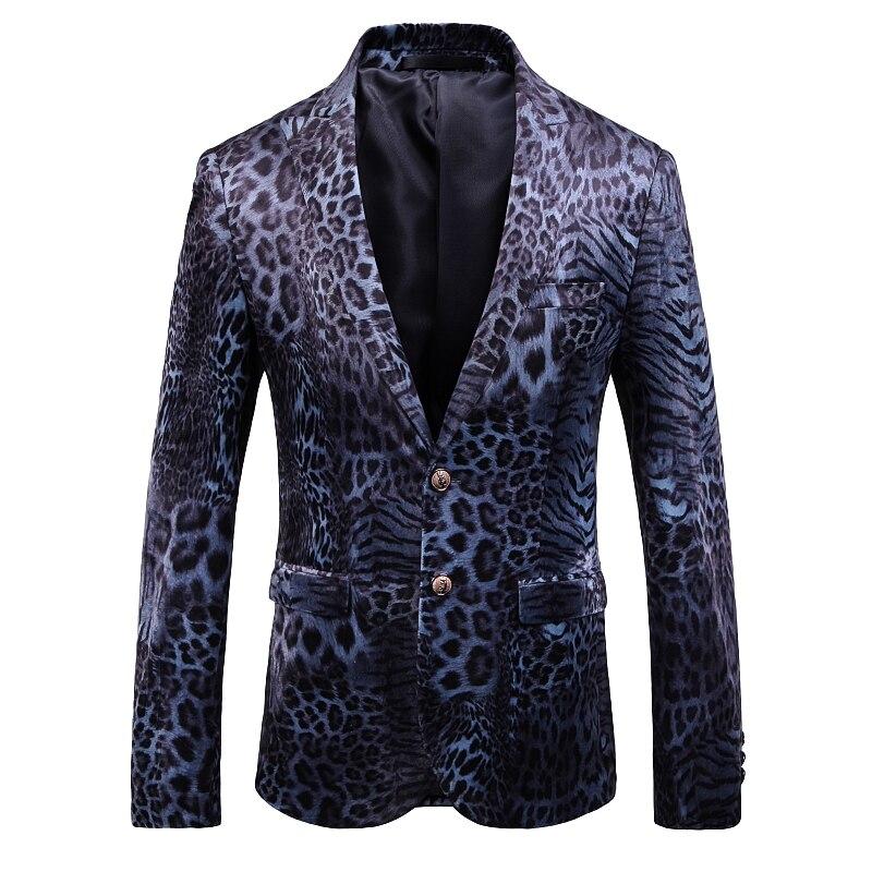 Fashion Men Suits &Blazer Leopard Print Cool Mens Velvet Blazers 2019 Autumn Winter Hip Hop Casual Slim Fit Suit Jacket Male