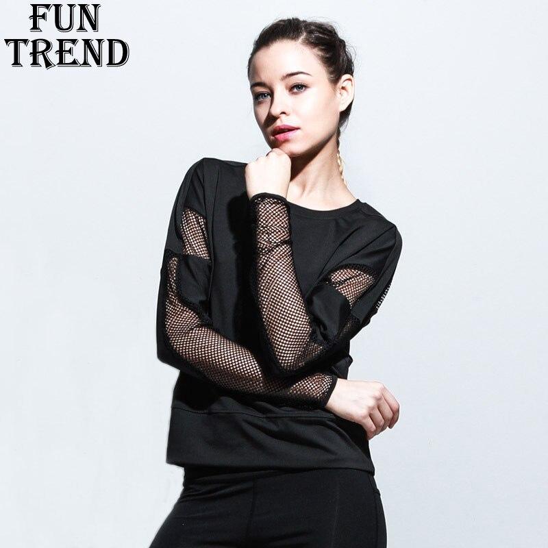 Sport Shirt Women Mesh Yoga Shirt Long Sleeve Sport Top font b Fitness b font Women