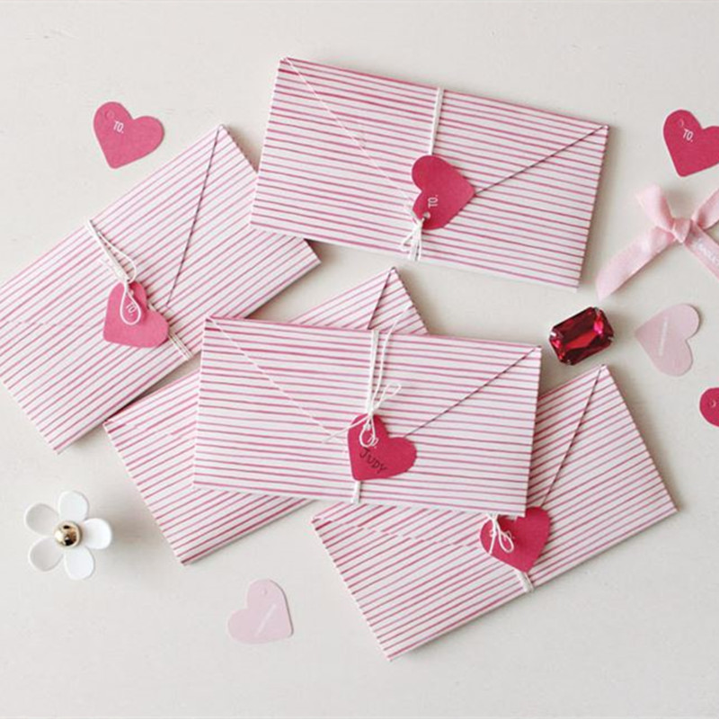 Coloffice 1PC Pink Heart Paper Envelope Kawaii Envelope Gift For Wedding Letter Invitations Office School Supplies