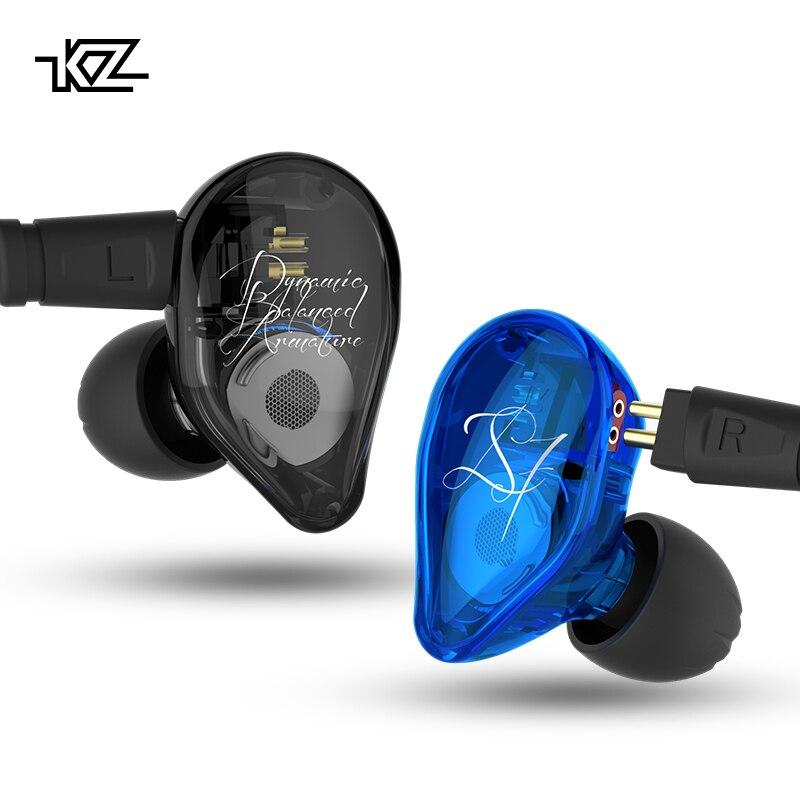 KZ ED16 אוזניות 2BA + 1DD אבזור & דינמי היברידי אוזניות אוזניות HiFi כבד בס ספורט אוזניות עם 2 פינים כבל KZ ZS10 BA10