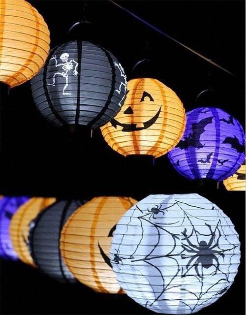 1 pcs Halloween Decoração LED Abóbora Morcego Aranha Pendurado Luz Da Lâmpada Da Lanterna de Papel de Halloween Adereços Fontes Do Partido Ao Ar Livre
