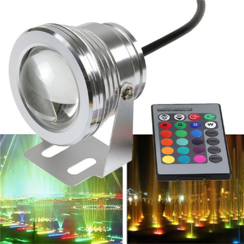 LED Underwater Lights RGB 10W DC12V 1000LM Swimming Pool Fountain Light With Remote Control Waterproof IP68