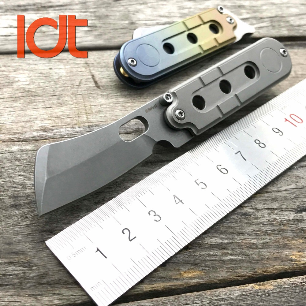 چاقو تاشو LDT لوبیا مینی قصاب S35VN تیغه تیتانیوم دسته Survival SR Pocket Key Chain Camping Hunger Knife EDC Tools