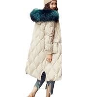 High end Women Down cotton Jacket Winter Warm Parkas Korean Women's High quality Hooded Fur collar Cotton Outerwear Tide A1029