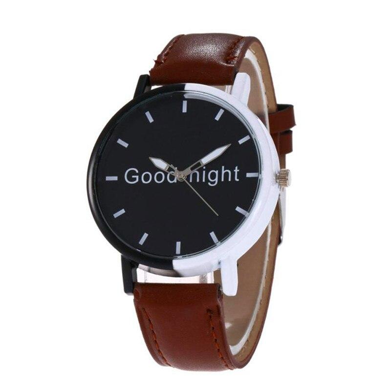 Watches quartz wristwatches relogio feminino Good Morning Letter Women Fashion Leather Quartz Wrist Watch shock resistant DEC08