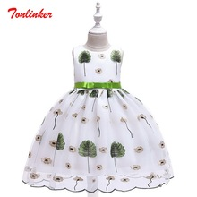Summer New Kids Girls Floral Leaves Embroidery Princess Tutu Dress Birthday Wedding Theme Party Ball Gown