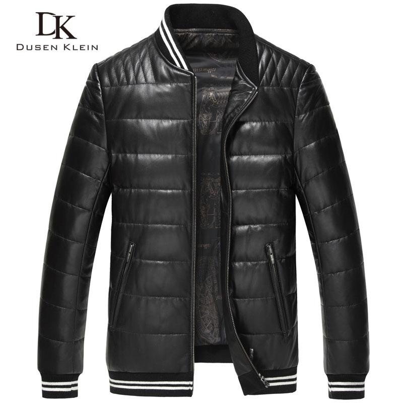 Winter Down jacket men Brand Designer Dusen Klein Slim/Simple Fashion Style Genuine lamb skin Luxury leather Jacket 17Z1507B