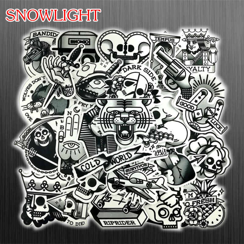 29Pcs/Lot Restore Black And White Horror Skull Sticker Graffiti JDM Cool Stickers For Skate Laptop Bike Refrigerator DIY Sticker