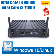 Intel core i3 7100u i5 7200U безвентиляторный мини-ПК Windows 7 10 Gigabit LAN VGA HDMI офисный неттоп ПК i5 5200U тонкий клиент HTPC J1800