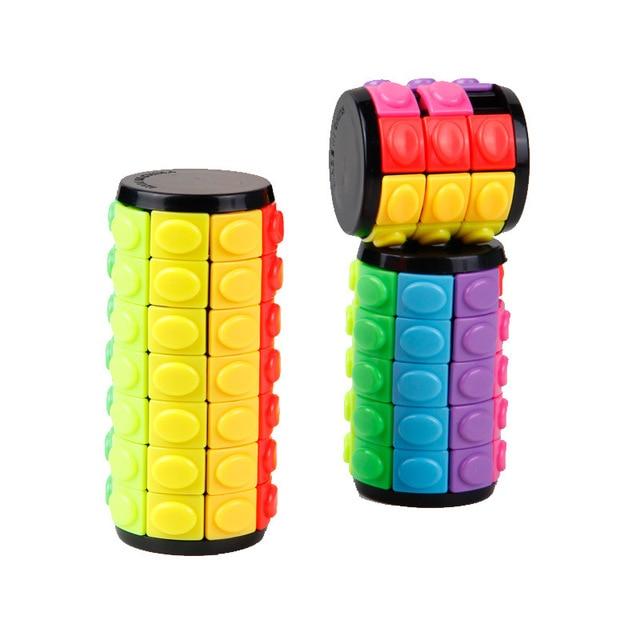 חדש 3D לסובב שקופיות מגדל בבל מתח קוביית פאזל צעצוע קוביית ילדים למבוגרים צבע צילינדר הזזה פאזל צעצוע חושי