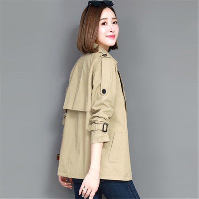 2019 New Spring Autumn Coat Female Long-sleeved   Trench   Coats Women Large Size Korean short paragraph Windbreaker Outerwear x313