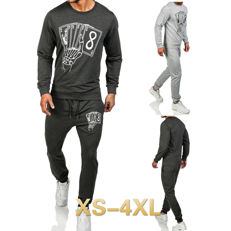 ZOGAA 2018 men sets fashion Casual Sports Men Poker Print Set psg Jogging tracksuit 3 colors Size S-2XL