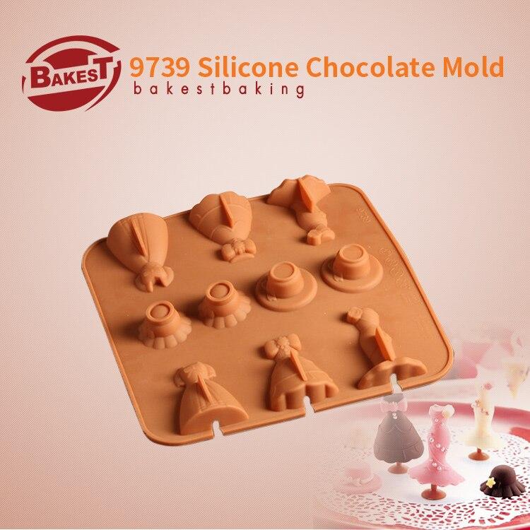 BAKEST Krásné 3D šaty silikonová čokoláda na pečení plísní fondánový dort