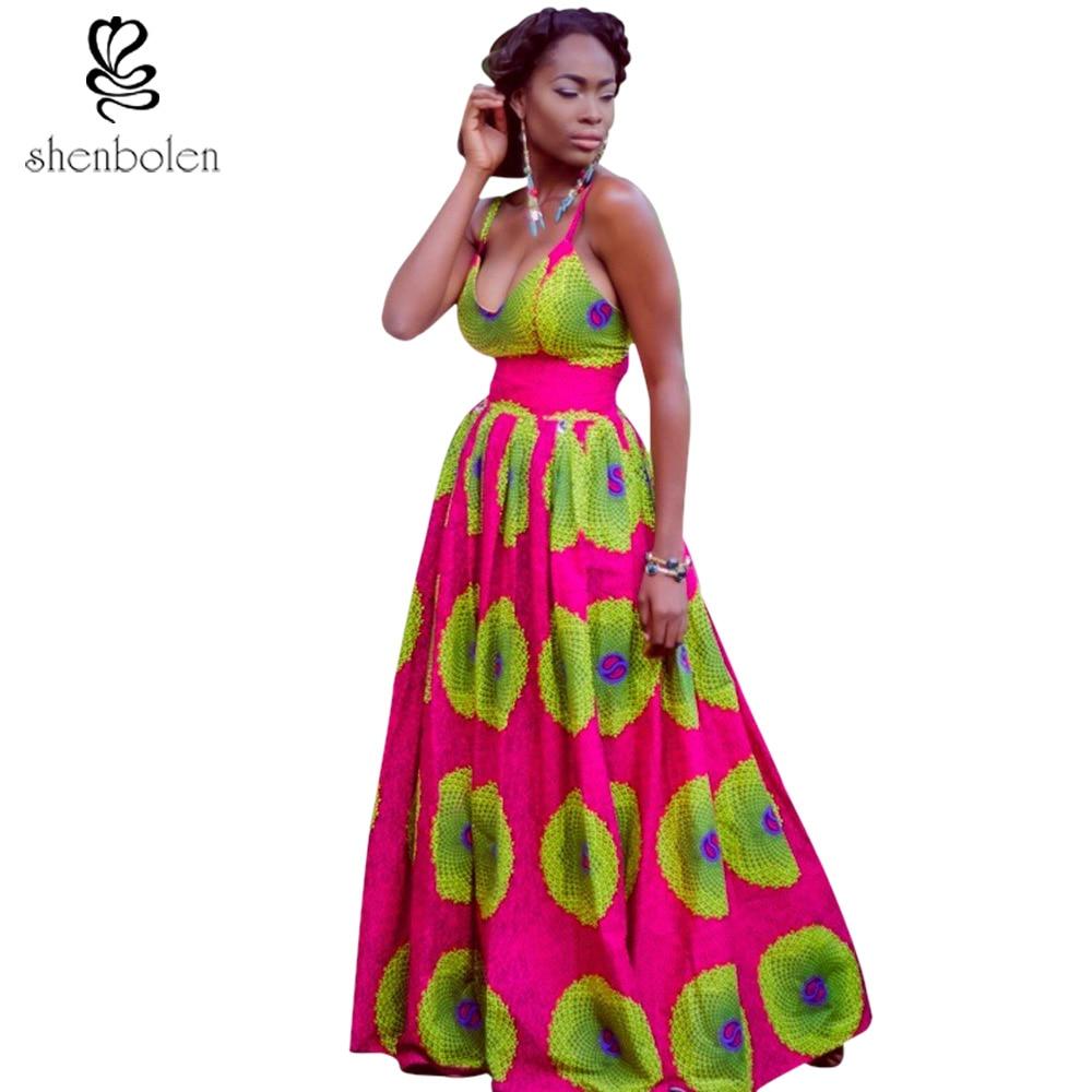 3c932c87862b 2017 African dresses for women Ankara style batik wax print sleeveless sexy  v-neck beautiful maxi dress party EVeing dresses