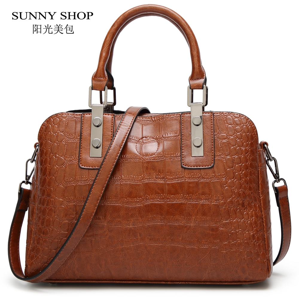 Vintage Crocodile Pattern Women Bag 2018 Ladies Top Handle Bag PU Leather Sling Bags ladies high quality leather handbag Brown hot sale sweet style women bag fashion solid crocodile pattern chain bag high quality ladies pu messenger bag bs659