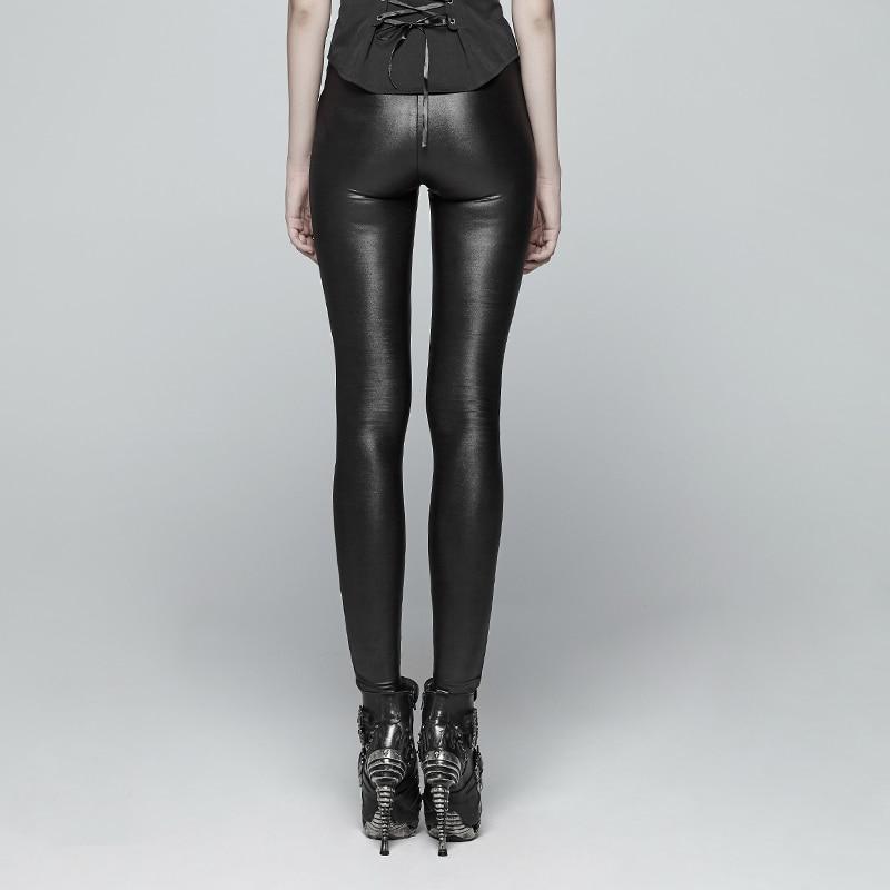 PUNK RAVE nouveau gothique diable empreintes de pieds noir femmes Leggings mode évider Punk extensible femme mince Sexy pantalon foncé - 3