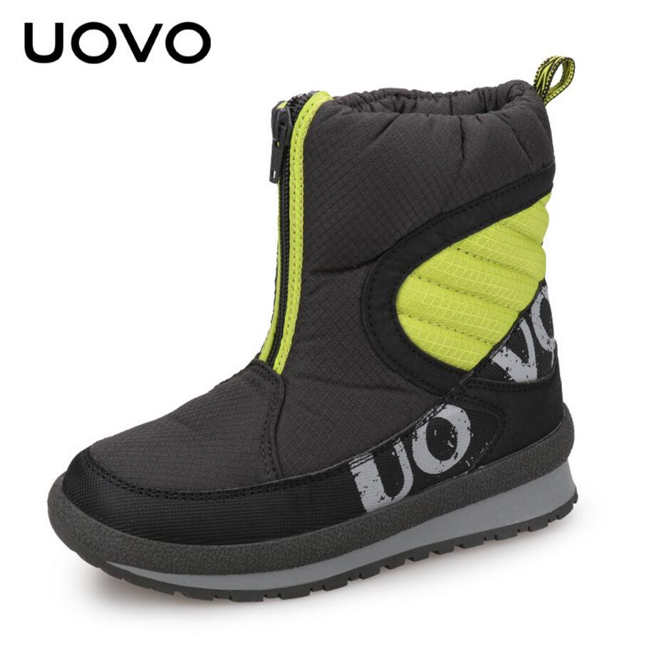 UOVO 2017 Girls & Boys Snow Boots Winter Children Shoes Warm Add Plush Outdoor Non-slip Boots For Child And Big Kids Size 30-38 uovo 2017 new kids shoes fashion children rubber boots for girls boys high quality warm winter children snow boots size 33 38