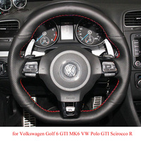 Black Leather Hand stitched Car Steering Wheel Cover for Volkswagen Golf 6 GTI MK6 VW Polo GTI Scirocco R Passat CC R Line 2010