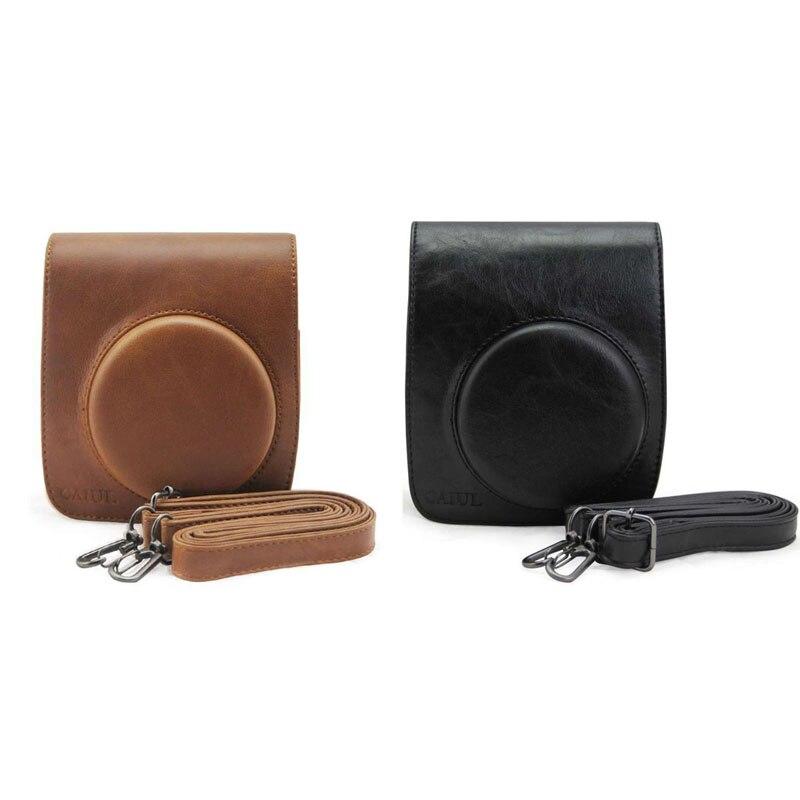 Compact PU Leather Camera Bag Protective Case Pouch With Shoulder Strap Camera Case Bag For Fuji FUJIFILM Instax Mini 90 Dec13