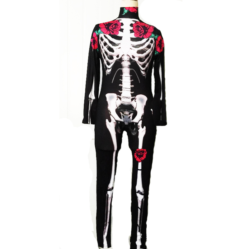 Halloween Sexy Skeleton Printing Stretch Jumpsuit ghost bride Cosplay Costume Zombie Zentai Scary Skull Joker Day of the Dead