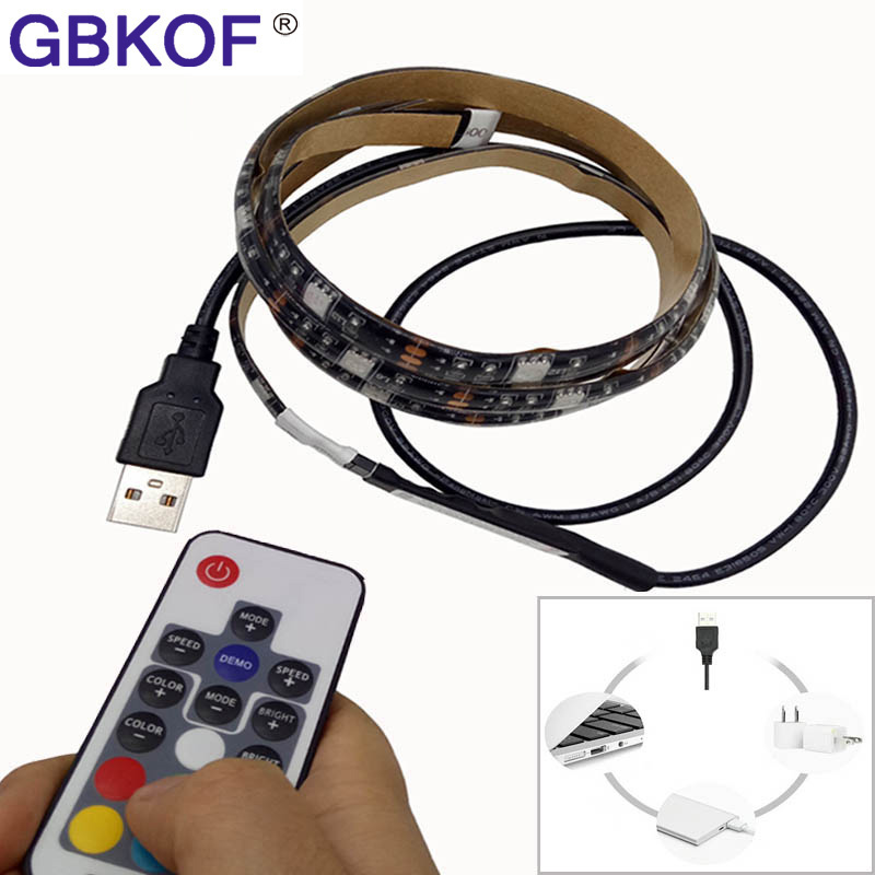 DC5V USB LED strip 5050 RGB flexible light 50CM 1M 2M IP65 Waterproof TV Background Lighting Strip with 17Key RGB Remote control