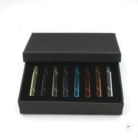 Fashion Business Casual Tie Clip Stickpin Tie Bar Set Copper Tieclip for Men Jewelry Accessories 8pcs/box