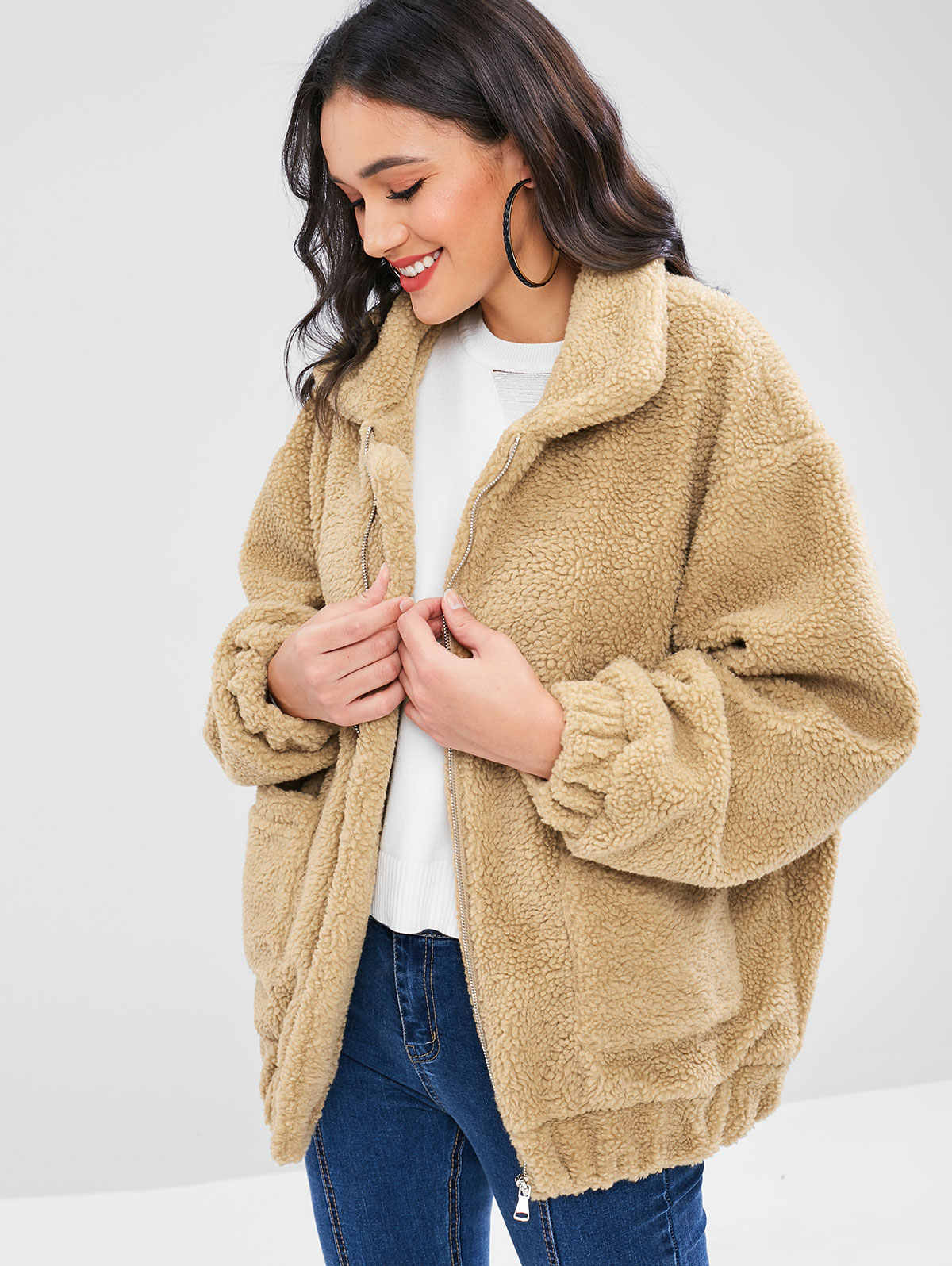 united states factory outlets online store ZAFUL 2019 Fluffy Zip Up Winter Teddy Coat Women Faux Fur Jacket ...