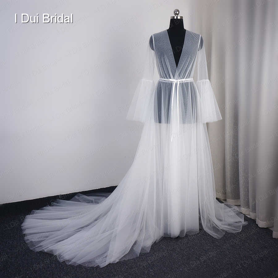0f5ede8ad3 Illusion Tulle Long Boudoir Robe Photography Evening Dress Long Sleeve  Dressing Gown Bachelorette Party Dress