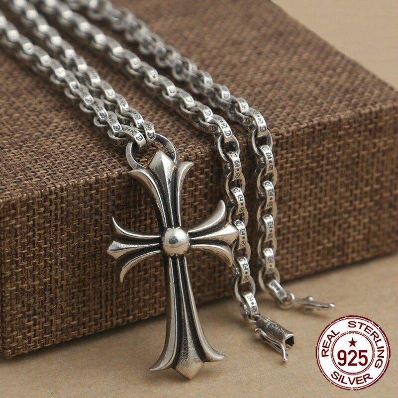 100% S925 серебро Мужская ожерелье Личность Мода ретро ювелирные изделия властная панк стиль форме Креста отправить подарок любовника