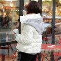 M-2XL 2016 Nuevo Estilo de Corea Del Invierno de Las Mujeres Abajo de Algodón Chaqueta Corta Capa Encapuchada Femenina Cremallera Knitting Patchwork Outwear ZS567