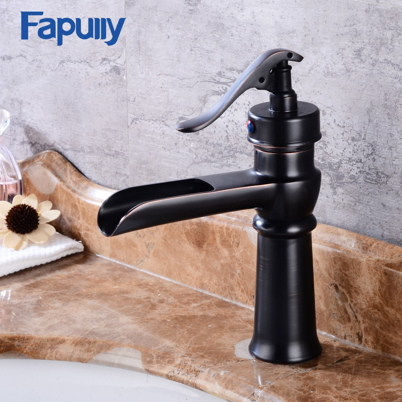 Fapully Deck Mounted Black Waterfall Faucet Oil Rubbed Bronze Bathroom Basin Sink Mixer Tap fapully waterfall faucet oil rubbed bronze single handle basin faucet bathroom vanity sink mixer tap