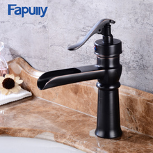 Fapully best deck mounted oil rubbed bronze black basin faucet