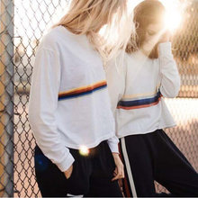 0b25b92791a1a (Ship from US) Cropped Sweatshirt Women 2019 Spring Rainbow Striped Print  Long Sleeve Bts White Cotton Tops Oversized Pullovers Hooded Clothes