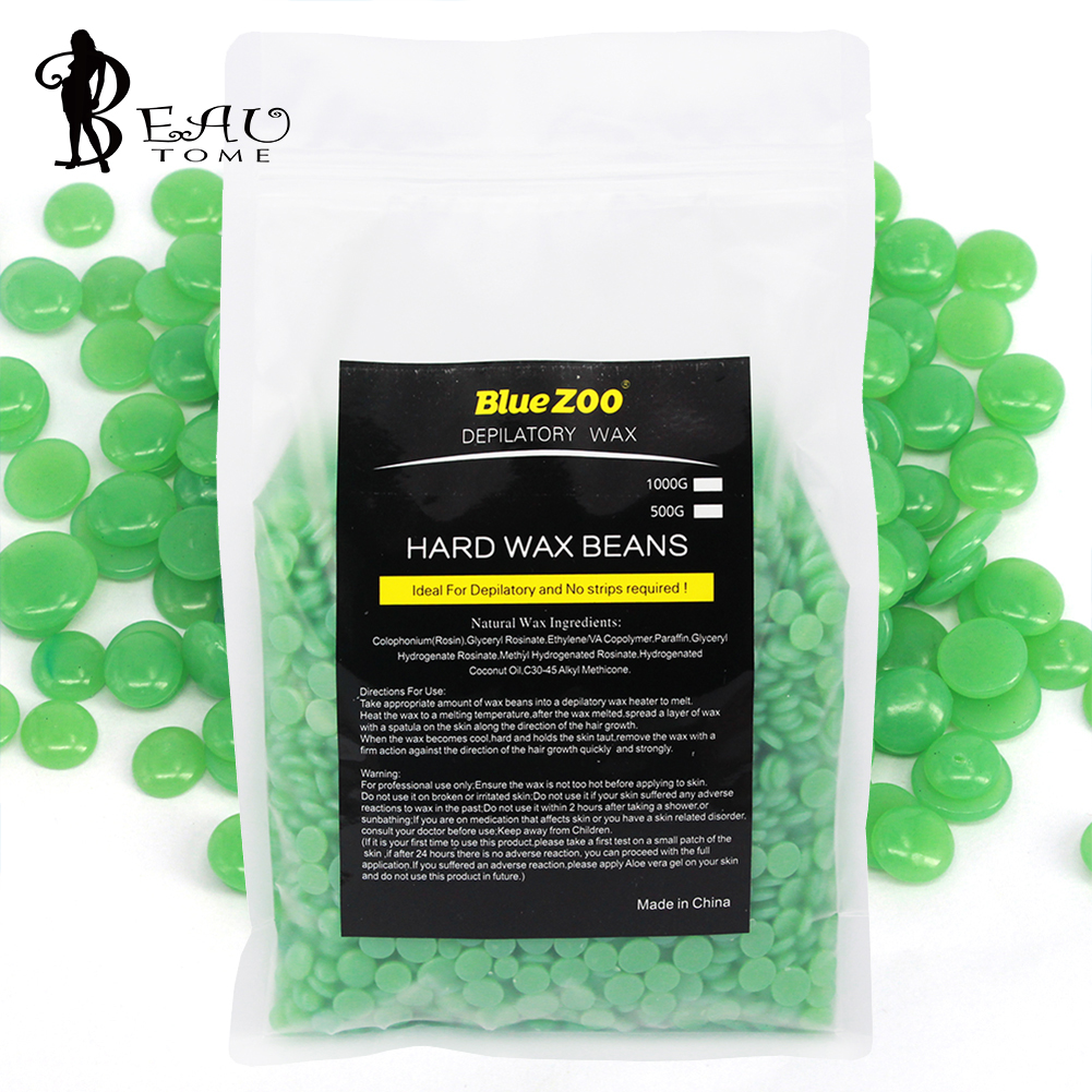 Green Tea 1000g 2017 Depilatory Wax Natural Hair Removal Hard Wax Beans Epilage No Strip Paraffin Epilation Hot Film Bean