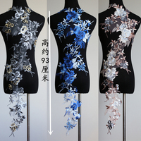 1 Unidades de Gran Flor Apliques de Encaje Bordado Escote Apliques de Encaje de Cuello de Costura DIY Artesanía Adornos Para El Vestido De Boda
