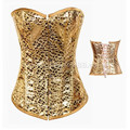 Aj2715 Sex Gold Leopard Printed  Steel Boned Leather plus size corset hot sale waist shaper corset high quality new steel corset