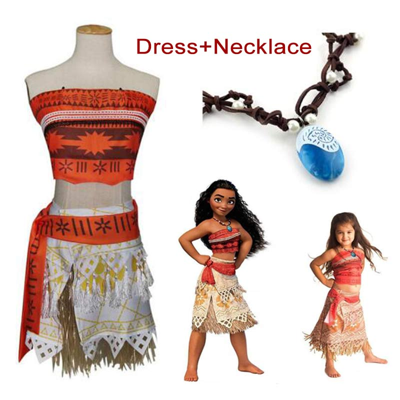 Women Kids Movie Moana Princess Dress Cosplay Costume Women Princess Vaiana Costume Skirt Halloween Costume for Women Party