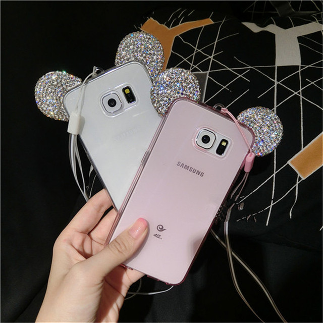3D Mickey Ear Case Crystal Soft Transparent cases For Samsung Galaxy Note3/4/5/A5/S4/S5/6/7/J5/J7/G530/S6 edge/S7 edge/S8/S8plus