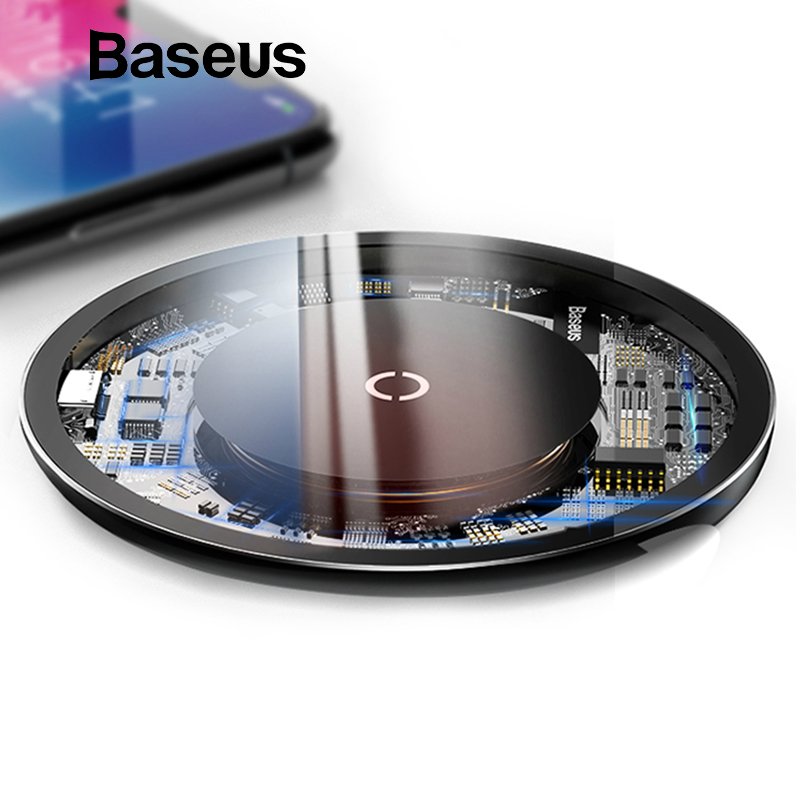 Baseus 10W Qi Wireless Charger for iPhone X/XS Max XR 8 Plus Visible Element Wireless Charging pad for Samsung S9 S10+ Note 9 8 držák na mobil do auta