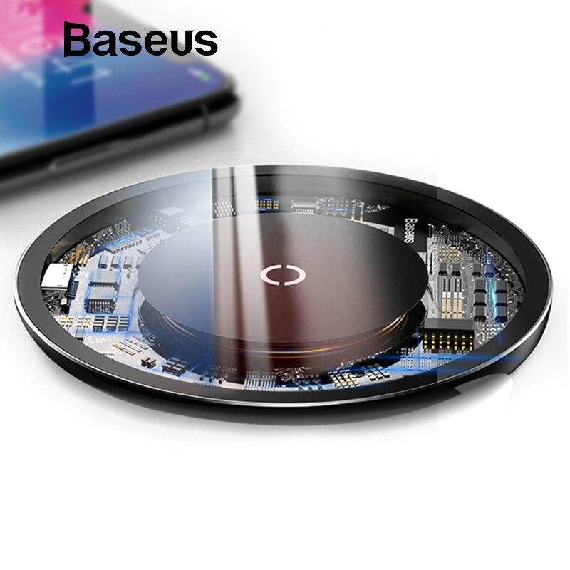 Baseus 10 W Qi cargador inalámbrico para iPhone X/XS Max XR 8 Plus almohadilla de carga inalámbrica de elemento Visible para Samsung S9 S10 + Nota 9 8