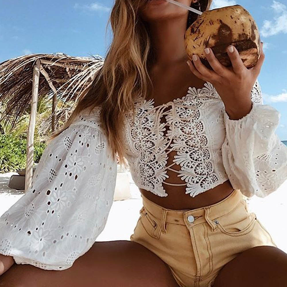 HTB1yGRJbiMnBKNjSZFoq6zOSFXay - Fashion Ladies Off Shoulder Lace Blouses Women Summer Long Sleeve Bandage Crop Tops Shirt Sexy Hollow-out Casual White Blouse #L